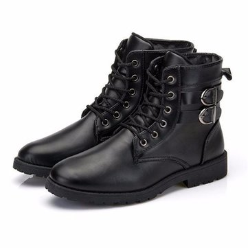 Men Military Lace Up High Top Double Buckle Boots