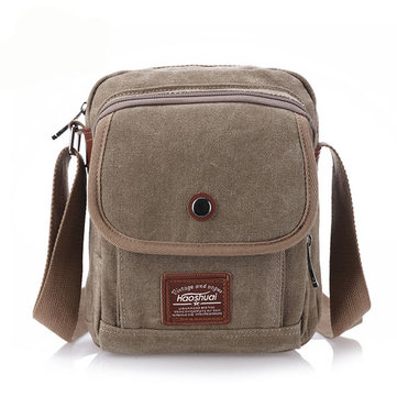 Canvas Retro Casual Multifunctional Khaki Black Coffee Shoulder Crossbody Bag For Men