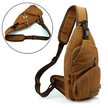 Men 16 ann Cotton Canvas Outdoor Cycling Sport Multi Pockets Chest Crossbody Bag