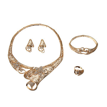 Flowers Crystal 18K Gold Plated Hollow Jewelry Set