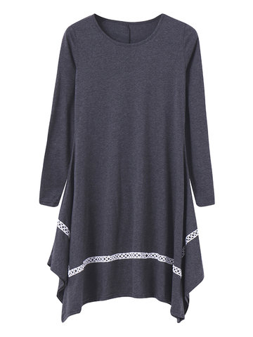 Women Casual Loose Irregular Long Sleeve O-neck Mini Dress