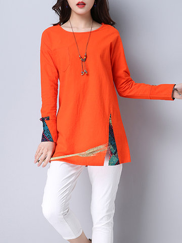 Vintage Women Patchwork Long Sleeve Side Split T-shirts