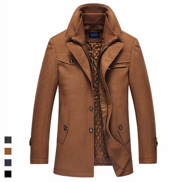 Winter Business Casual Double Collar Thicken Warm Pure Color Wool Overcoat For Men