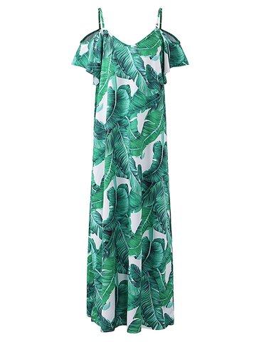 Боемианские листья Печать Холодное плечо с коротким рукавом V-образным вырезом Maxi Dress