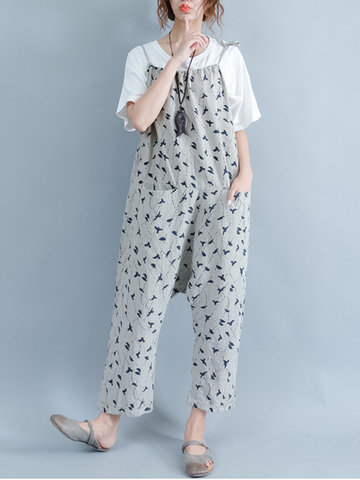 Casual Women Printed Spaghetti Strap Pockets Baggy Jumpsuits Overalls