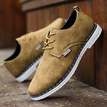 Casual Business Shoes Lace Up Round Toe Oxfords for Men