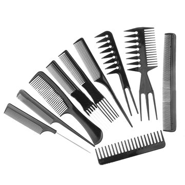 10Pcs Hairdressing Salon Combs Set Black Plastic Barbers Hair Brush Styling Tools