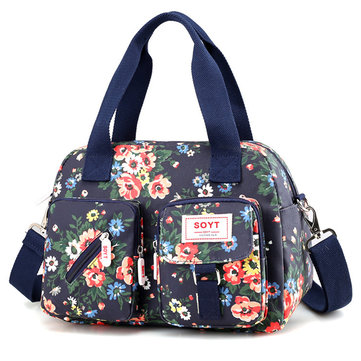 Waterproof Floral Print Crossbody Bag Large Capacity Tote Bag