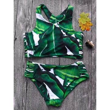 Sexy Leaf Printed Hollow Out Bandage Racerback Juniors Bikinis Swimsuits