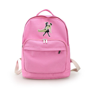 Girls Cute Canvas Schoolbag Cartoon Little People Backpack