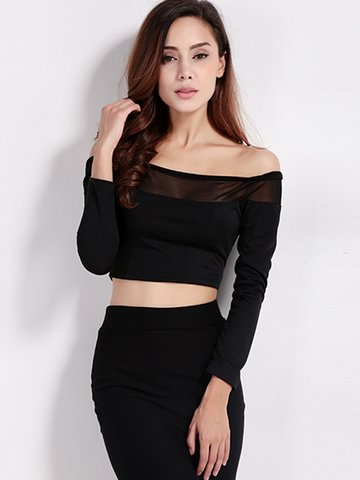 Women Sexy Off-shoulder Stitching See-through Long Sleeve Tops