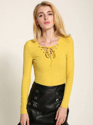 Lztlylzt Women Casual Knitting Cross Strap V-neck Long sleeve Tops