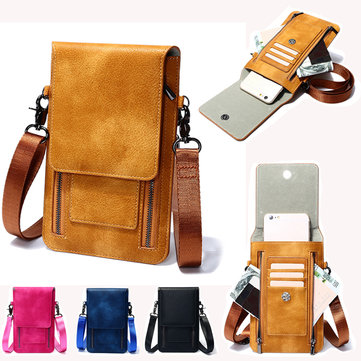 Vintage PU Leather Card Holder 6inch Phone Bag