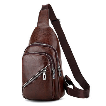 Business Pu Leather Crossbody Bag Multi Pocket Chest Bag Sling Bag For Men