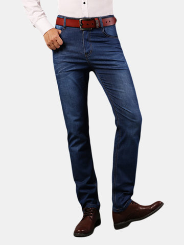 Casual Business High Elastic Slim Straight Leg Cotton Breathable Long Jeans for Men