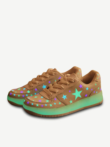 Big Size Cute Star Fluorescence Lace Up Light Up Casual Sport Shoes