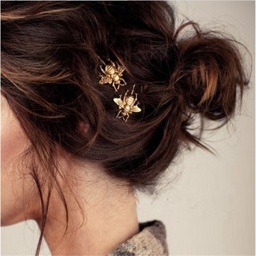 Vintage Hair Clip Elegant Golden Bee Side Clip Hairpin Metal Headwear Hair Accessories