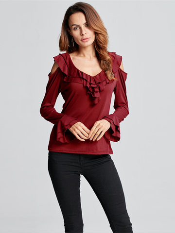 Elegant Women Off Shoulder Long Sleeve Ruffles Pure Color T-shirt
