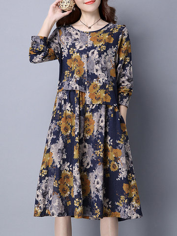 Folk Style Women Flower Printed Long Sleeve O-Neck A-Line Dress