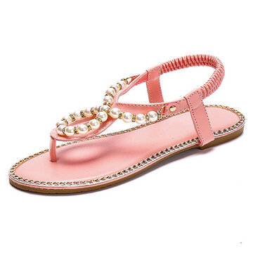 Bohemia Beaded Flip Flops Elastic Beach Flat Sandals