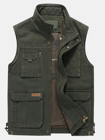 Plus Size Casual Outdoor Cotton Multi Functions Loose Vests for Men