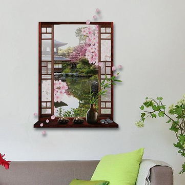 3D Pink Peach Blossom Flower Tree Wall Decal Removable Stickers Home Decor