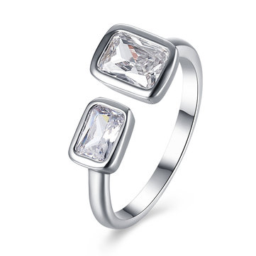 Simple Opening Ring Silver Platinum Rhinestone Square Ring for Women Gift