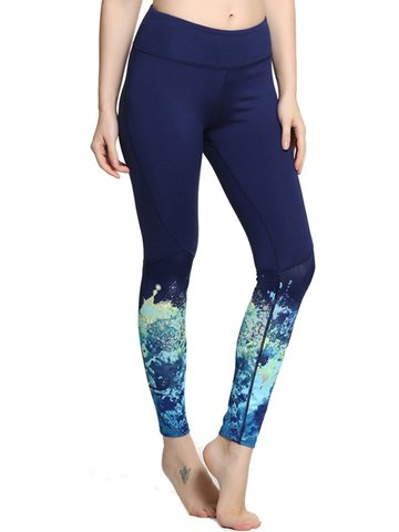 Women Ink Print Slim Fit Yoga Training Leggings