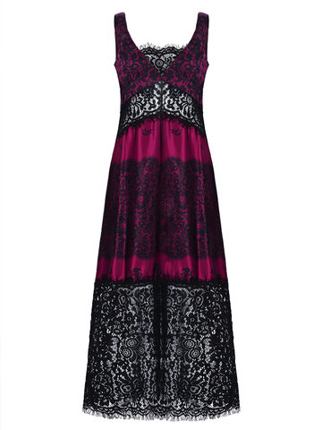 Sexy Print Lace Patchwork Backless V-neck Maxi Dress For Women