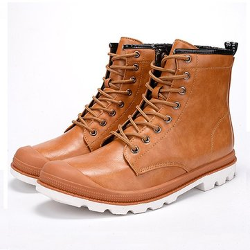 Men Retro High Top Stylish Cap-toes Lace Up Casual Work Shoes