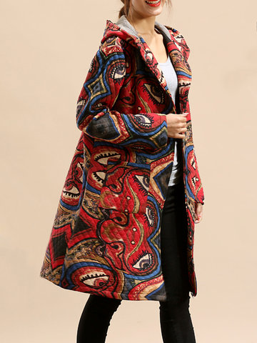 Colorful Printed Pocket Long Sleeves Coats For Women
