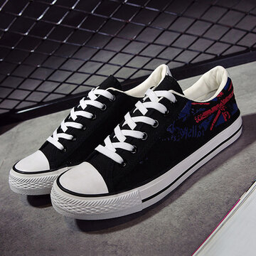 Men Canvas Low Top Lace Up Casual Flat Shoes