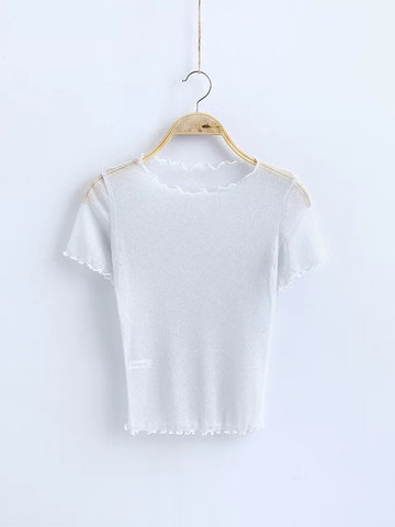 Sexy See-Through Short Sleeve O-neck Mulheres T-shirt