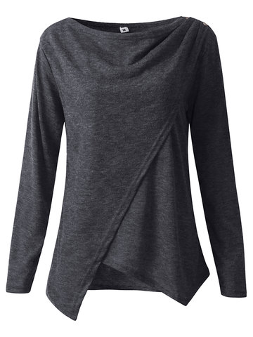 Women Casual Solid Color O-Neck Long Sleeve Asymmetrical Blouses