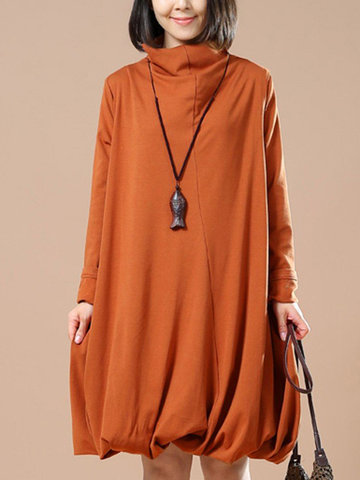 O-NEWE Elegant Loose Pure Color Turtleneck Double layer A-Line Dress For Women