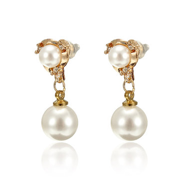 Sweet Crystal Pearl Gold Plated Stud Earrings
