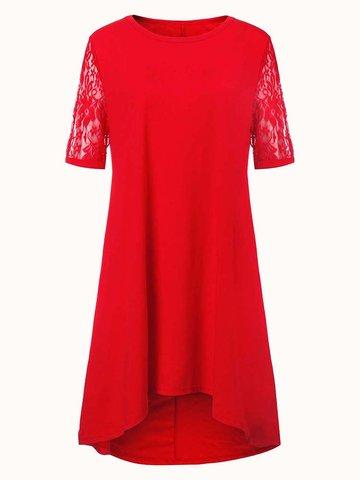 Повседневный Плюс Размер Чистый Цвет Кружева Пэчворк Высокое Низкое Платье для Женщин