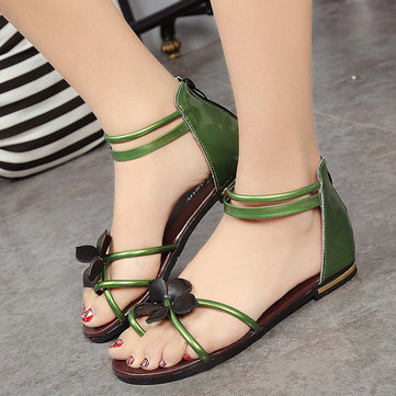Floral Strappy Hollow Out Clip Toe Korean Style Flat Sandals Flip Flops