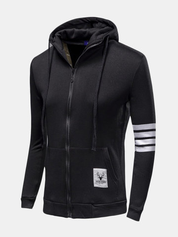 Mens Fashion Sports Hoodies Casual Zipper Hooded Jackets Sweatshirt
