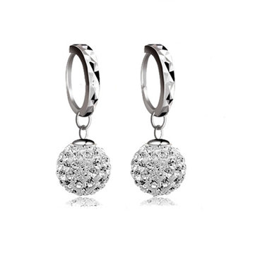 Silver Plated Zircon Ball Drop Earrings