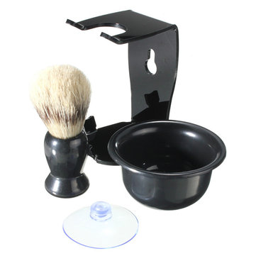 Men Shaving Kit Brush Suction Cup Stand Bowl Set Black