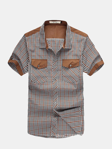 Men's Large Size Summer Grid Checks Pattern Casual Cotton Shirts