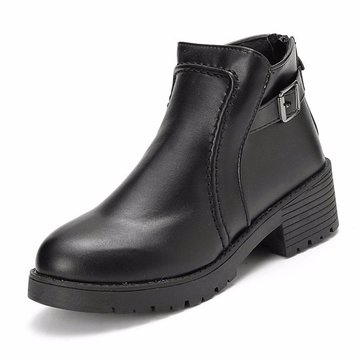 Black Buckle Stitching Square Heel Ankle Knight Square Heel Boots