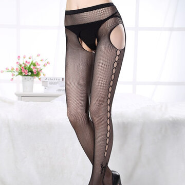 Sexy Open Crotch Butterfly Jacquard Mesh Pantynose Long Stocking For Woman