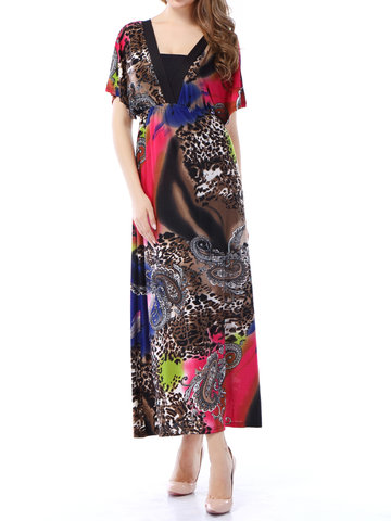 Bohemian Loose Hem Short Sleeve V Neck Women Printed Dresses
