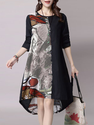 Vintage Printing Round Neck Asymmetrical Hem Dress для женщин