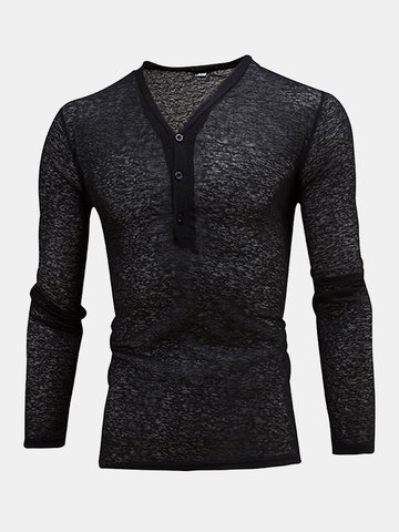 Mens Breathable Buttons Half-cardigan Solid Color V-neck Long Sleeve Thin Casual T-shirt