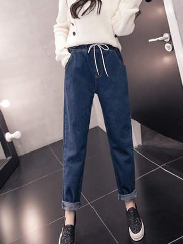 Casual Pure Color Drawstring Waist High Waist Women Jeans
