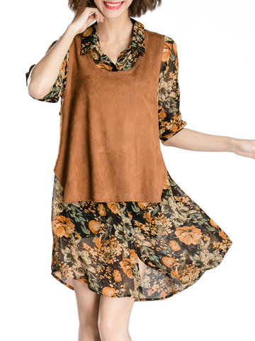 Elegant Floral Printed Long Sleeve Two Piece Blouse For Women