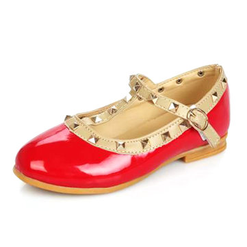 Children Princess Rivet Flats Shoes Girls Fashion Dress Casual Loafers